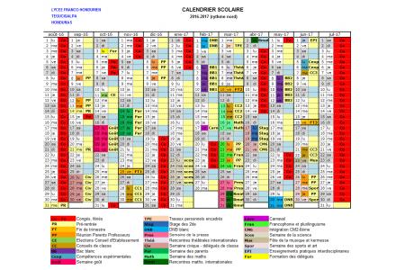Calendario 2016-2017 con actividades
